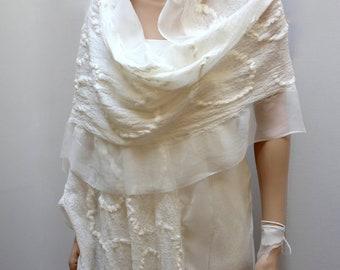 Silk Chantilly Shawl/Scarf silk merino ultra-light felt in feminine elegance