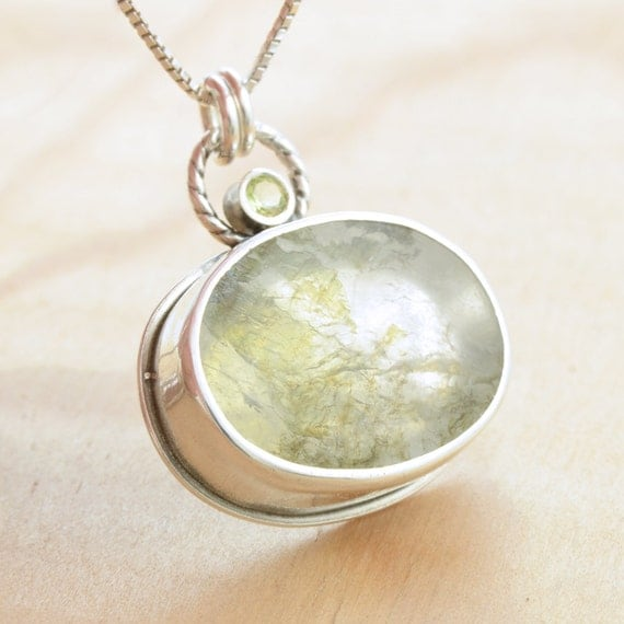 Moss Agate Cabochon with Peridot Pendant, Handmade Sterling Silver