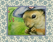 Charming Squirrel in a Bonnet. Art Card by Melody Lea Lamb