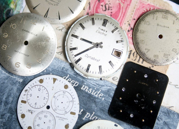 7 Vintage Wrist WATCH FACES Parts Metal JEWELRY Steampunk Assemblage Altered Art Mixed Media A1