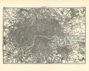 map of London from 1904, a 600 dpi file for large printing, unique home decor and craft supply