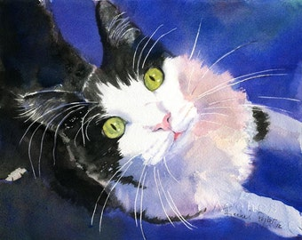 Tuxedo Cat Black White Art PRINT of my watercolor painting