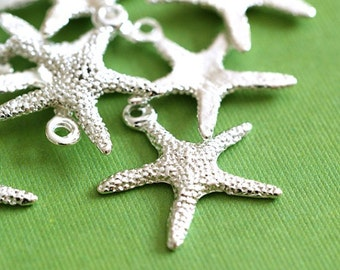 12pcs Silver Finish Alloy Starfish Sea Star Charms