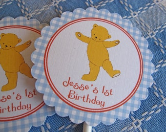 Teddy Bears Picnic - Personalised Cupcake Toppers x 6 Blue or Pink