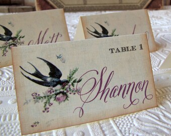 Wedding Reception Tented Place Card Vintage Barn Swallow and Roses Blue Lavender Escort Card