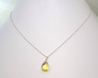 Dazzling Yellow Citrine Gemstone Dangle Christian Necklace - Sterling Silver Chain - Oil Collection