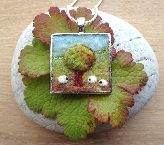 Autumn Tree and Sheep Pendant