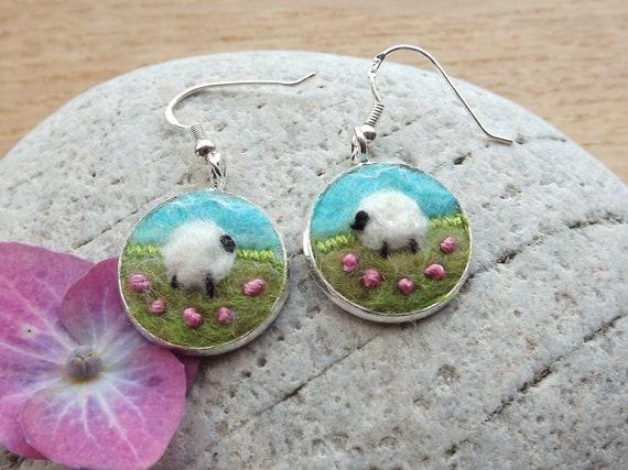Earrings Sheep Felt