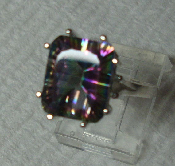 ring Mystic Rainbow Topaz DAZZLING  in sterling silver - earth friendly ethical sources - custom made in your size  November Birthstone