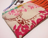 SHOP Closing FREE Shipping Japanese Echino Deer patchwork Pink and Orange Cosmetic Case Zippy Pouch