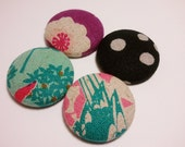 FREE Shipping Set of 4 fabric covered magnets in variations of pink and teal