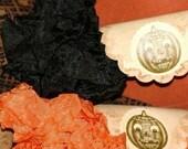 Seam Binding Ribbon  - Halloween -  Black and Orange - 18 YARDS - Crinkle Ribbon - Vintage style Ribbon