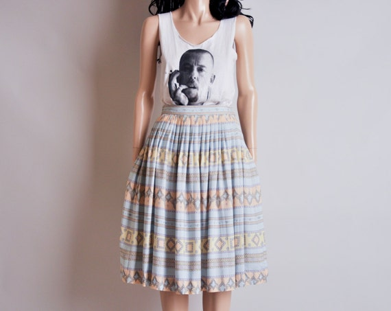vintage 80s pastel print pleated full skirt