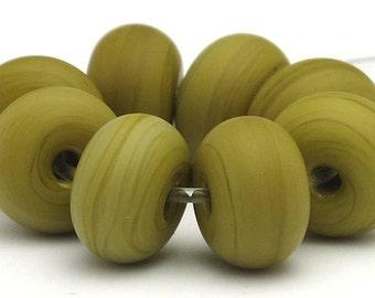 Handmade Lampwork Spacer Beads Matte Green Ochre Wasabi SRA