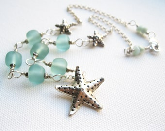 Starfish Necklace Seaglass Artisan Lampwork Beads Fair Trade Karen Hill Tribe Fine & Sterling Silver UK Seller Contemporary Fashion Jewelry