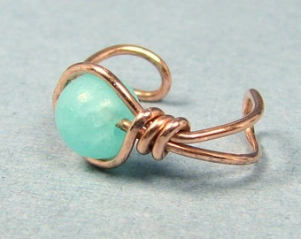 Copper Ear Cuff  Amazonite or Choice of beads cartilage earring non pierced wire wrapped