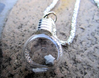 Origami Lucky Star Under Glass Necklace, Grey Paper Star In Bottle