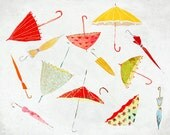 Septembre - Art - Print of an original illustration - Color Print - Drawing -  Autumn Rain Umbrella Collection- Children room decor