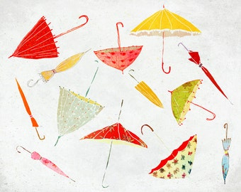 Septembre - Art - Print of an original illustration - Color Print - Drawing -  Autumn Rain Umbrella Collection- Children room decor