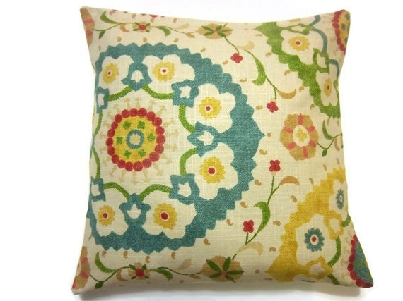 RESERVED Two Yellow Green Red Blue Pillow Cover Decorative Throw Toss Accent Pillow Covers 18 inch pair  Same Fabric Front and Back