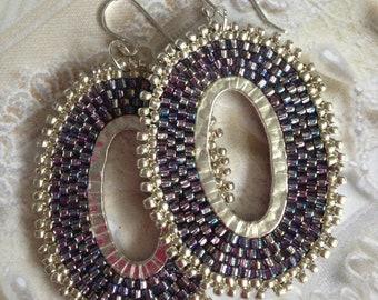 Seed Bead Oval Hoop Earrings Metallic Silver Lavender Grey Beaded Earrings Beadwork Jewelry