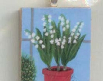 Garden Art, Floral, Lily of the Valley Decoupaged Ornament or Pendant, Floral Painting