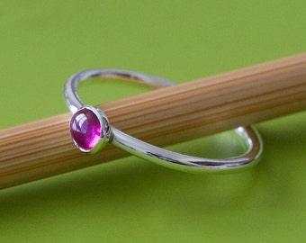 Red Ruby Stacking Ring in Sterling Silver - Size 2 to 15 • Gemstone - Stacker - July Birthstone - Womens Ring - Gift for Her - Ruby Ring