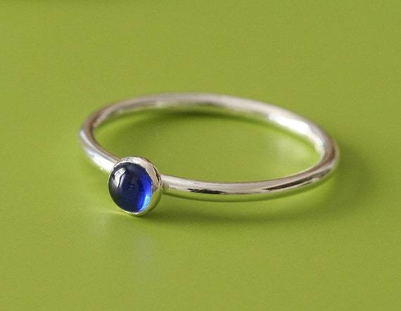 Blue Spinel Stacking Ring - Sterling Silver - Size 2 to 15