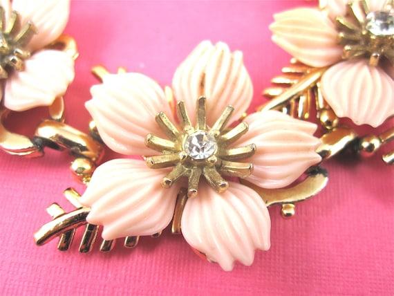 SALE Vintage Pink Celluloid and Rhinestone Flower Bracelet