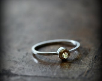 Citrine ring - recycled sterling silver ring with bezel set stone (november birthstone)