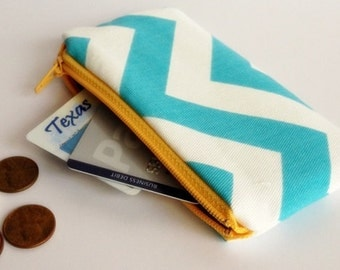 Zippered Coin Purse Wallet - Fabric Business Card Holder - Turquoise Chevron Stripes