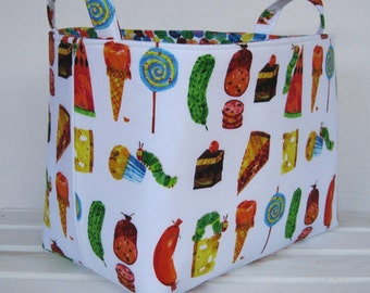 Storage Organization Fabric Basket Container Organizer Bin | Made with Licensed Very Hungry Caterpillar Fabrics |  Medium Size