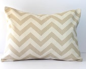 Decorative Pillows Cushions Cover - Khaki Beige & Natural Chevron 12 x 16 Accent Throw Pillow - Baby Nursery Decor - Home