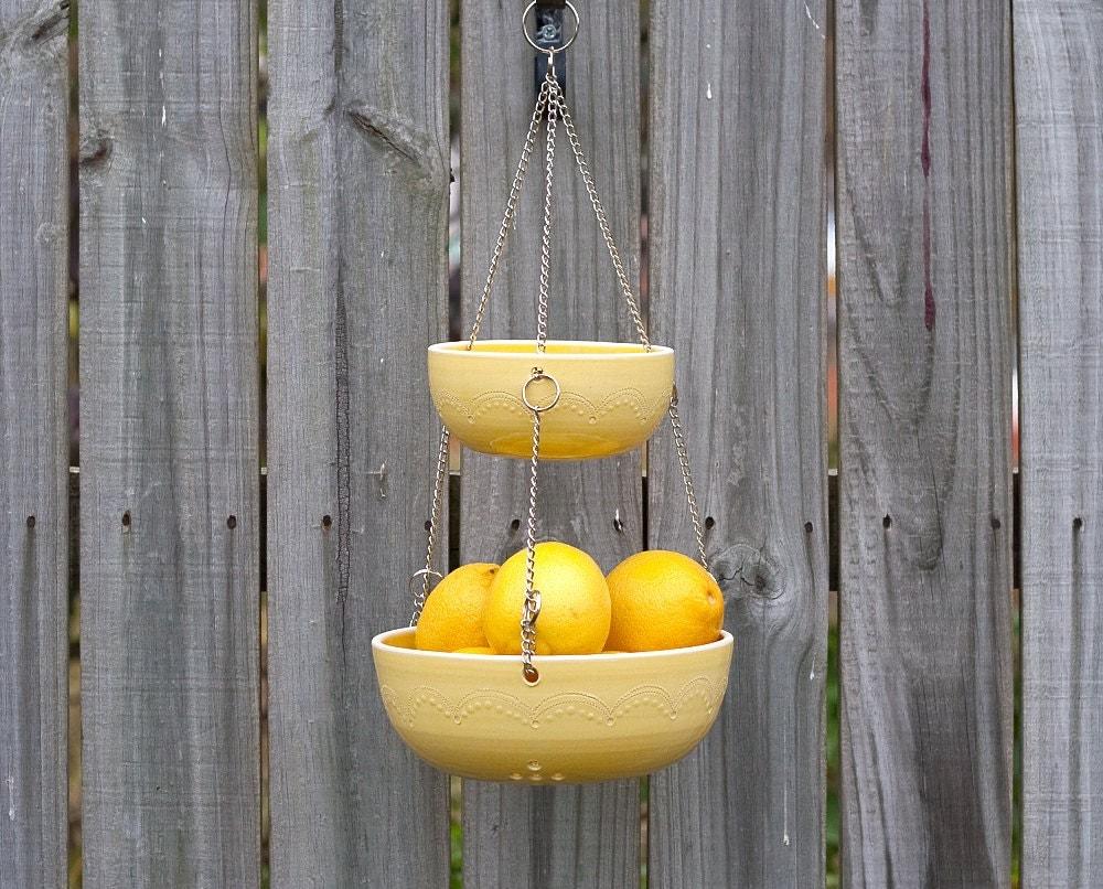 Handmade Hanging Fruit Basket : Hanging fruit basket yellow