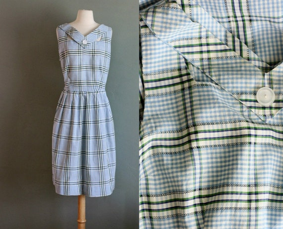 50s XL/XXL Plaid Cutout V Neck DRESS