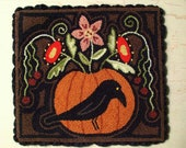 Primitive Needle Punch Mat PATTERN Fall Crow & Pumpkin Full Of Flowers