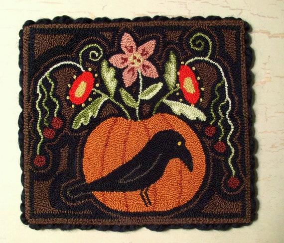 Primitive Fall Needle Punch Mat Fall Crow & Pumpkin Full Of Flowers