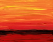 Orange Abstract Painting 24x36 Red Art Yellow Black Abstract Landscape Painting Sunset 24x36 Ruby Shore Modern Contempoary Large Canvas