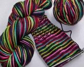 Superwash Merino DK Yarn -- STRIPING Yarn for Socks or Gloves -- Tickle Me Emo (Ex-Lg 120gram/282yd skein)