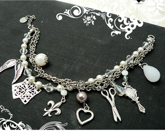 SALE 50% OFF - Silver and Pearl charm bracelet