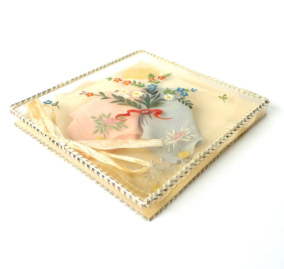 Reserved LIsting -  Vintage Silk Handkerchief Set in Original Painted Box with Labels