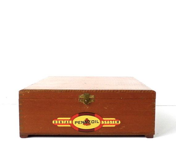 Pennzoil Kontax System Wood Advertising Box