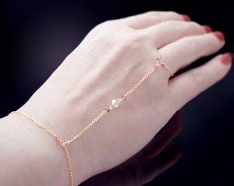 14k Solid Gold Slave Bracelet with a White Topaz Bezel - please read!