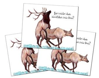Reindeer humping christmas cards packs of 3