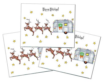 Airstream trailer christmas greeting card 3 per pack