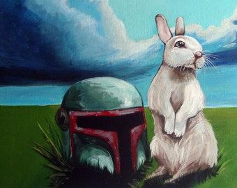 8x16  Digital Print of Bunny with Boba Fett Helmet from Original Acrylic on Canvas Painting