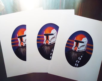 Digital Print 8.5 x 11  Chewbacca wearing a Clone Helmet