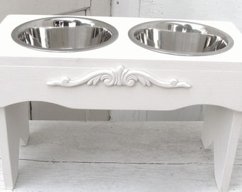Elevated Dog Feeder, Raised Bowl Holder, Feeding Stand, Elevated Pet Bowl Holder White Cottage Chic