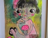 Canvas Painting Cute Mushroom Girl Original Art contemporary modern