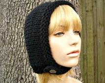Knit Hat Womens Hat - Pixie In Training Aviator Hat in Black Knit Hat - Black Hat Black Hood Black Beanie Womens Accessories Winter Hat